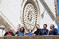 Mauro Gambetti, Rania of Jordan, Angela Merkel, Giuseppe Conte and King Abd Allah II<br /> Assisi March 29th 2019. St Francis Basilic. The lamp of the Peace 2019 is given to the King of Jordan.<br /> photo di Samantha Zucchi/Insidefoto