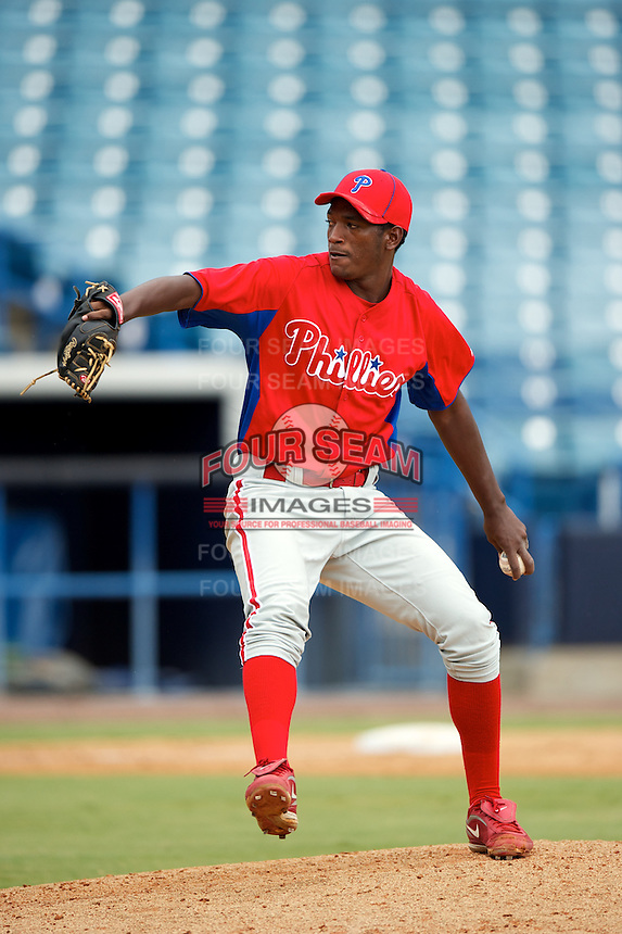 GCL Phillies Yoel Mecias #70 during a Gulf Coast League game against the GCL Yankees at Legends Field on July 17, 2012 in Tampa, Florida.  GCL Phillies defeated the GCL Yankees 4-2.  (Mike Janes/Four Seam Images)