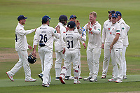 Simon Hamer of Essex celebrates with his team mates after taking the wicket of Dominic Sibley during Warwickshire CCC vs Essex CCC, Specsavers County Championship Division 1 Cricket at Edgbaston Stadium on 10th September 2019
