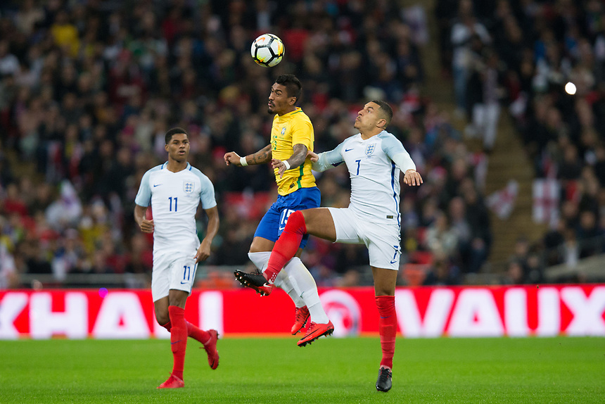 England's Jake Livermore battles for possession with Brazil&rsquo;s Paulinho <br /> <br /> Photographer Craig Mercer/CameraSport<br /> <br /> The Bobby Moore Fund International - England v Brazil - Tuesday 14th November 2017 Wembley Stadium - London  <br /> <br /> World Copyright &copy; 2017 CameraSport. All rights reserved. 43 Linden Ave. Countesthorpe. Leicester. England. LE8 5PG - Tel: +44 (0) 116 277 4147 - admin@camerasport.com - www.camerasport.com