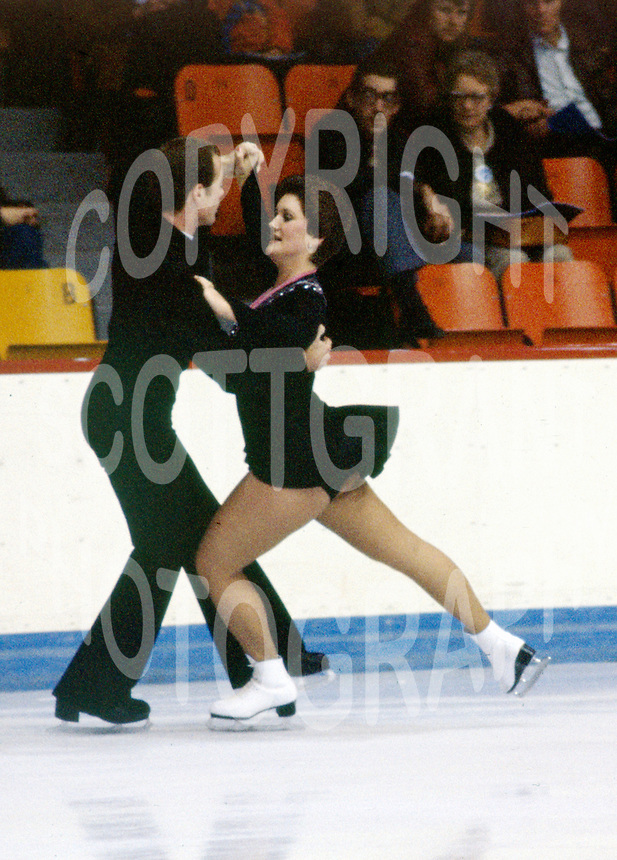 Debbie and Randy Burke of Canada compete at the 1977 Skate Canada in Moncton, Canada. Photo copyright Scott Grant.