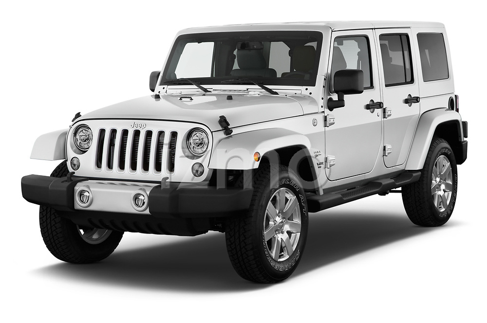 2017 JEEP Wrangler-Unlimited Sahara 5 Door SUV Angular Front stock photos of front three quarter view