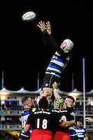 Dave Attwood of Bath Rugby rises high to win lineout ball. Aviva Premiership match, between Bath Rugby and Saracens on April 1, 2016 at the Recreation Ground in Bath, England. Photo by: Patrick Khachfe / Onside Images
