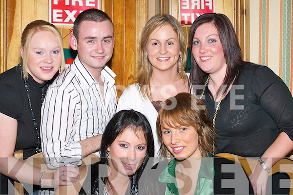 JOYFUL: Enjoying Womens Christmas in the Failte Restaurant, Killarney, last Saturday night were, front l-r: Ina Kennedy and Amy Duggan. Back l-r: Louise McCarthy, Anthony Kelly, Clare Cronin and Tina Broderick (all Killarney)..