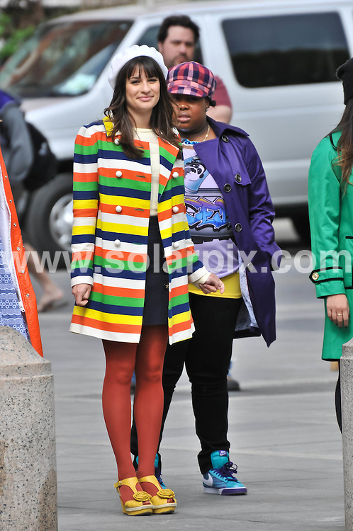 """**ALL ROUND PICTURES FROM SOLARPIX.COM**                                             **SYNDICATION RIGHTS FOR UK, AUSTRALIA, DENMARK, PORTUGAL, S. AFRICA, SPAIN & DUBAI (U.A.E) & ASIA (EXCLUDING JAPAN) ONLY**                                                                                  Caption:  American TV series """"Glee"""" Filming at Washington Square Park in New York City on April 29, 2011 - Washington Square Park  - New York City, NY, USA                                                                               .This pic: Lea Michele                                                                                            JOB REF: 13245       PHZ /Santoro      DATE: 30.04.2011                                                           **MUST CREDIT SOLARPIX.COM OR DOUBLE FEE WILL BE CHARGED**                                                                      **MUST AGREE FEE BEFORE ONLINE USAGE**                               **CALL US ON: +34 952 811 768 or LOW RATE FROM UK 0844 617 7637**"""