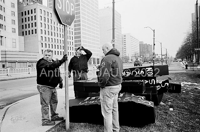 Detroit, Michigan<br /> January 16, 2010<br /> <br /> Recently laid off auto union leaders and members hold a demonstration outside the North American International Auto Show.