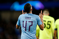 Phil Foden of Manchester City celebrates after scoring his side's second goal to make the score 2-0 during the UEFA Champions League Group C match between Manchester City and Dinamo Zagreb at the Etihad Stadium on October 1st 2019 in Manchester, England. (Photo by Daniel Chesterton/phcimages.com)<br /> Foto PHC/Insidefoto <br /> ITALY ONLY