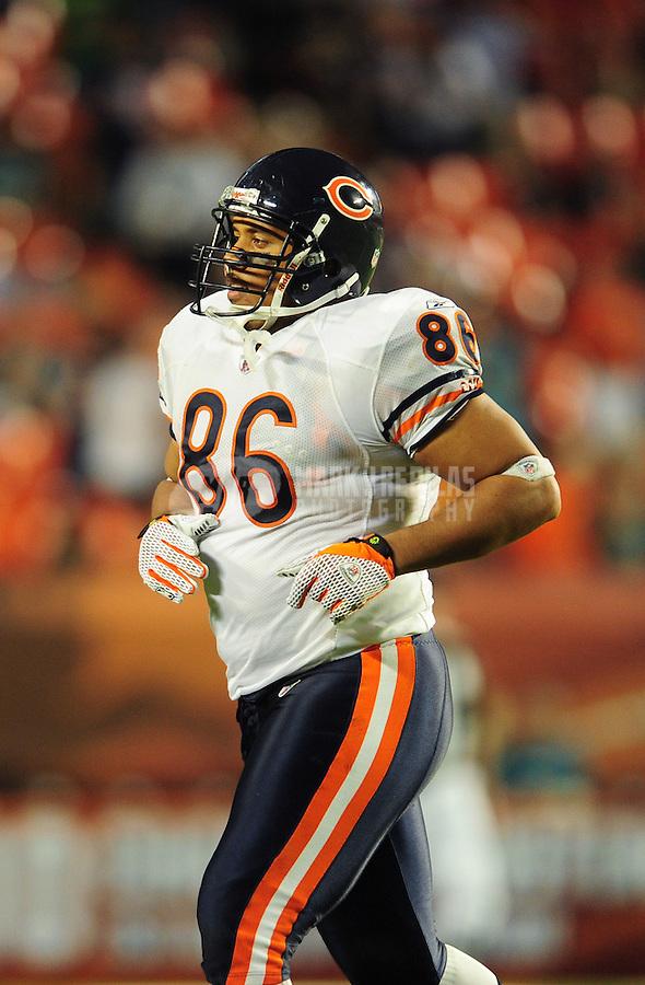Nov. 18, 2010;  Miami, FL, USA; Chicago Bears tight end Brandon Manumaleuna against the Miami Dolphins at Sun Life Stadium. The Bears defeated the Dolphins 16-0. Mandatory Credit: Mark J. Rebilas-