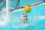 LOS ANGELES, CA - MAY 13: Julia Hermann #1 of Stanford University reaches for a shot attempt during the Division I Women's Water Polo Championship held at the Uytengsu Aquatics Center on the USC campus on May 13, 2018 in Los Angeles, California. USC defeated Stanford 5-4. (Photo by Tim Nwachukwu/NCAA Photos via Getty Images)