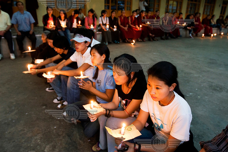 Exiled Tibetans begin a candle light protest in Dharamsala during the unrest that began in March 2008 in Tibet..