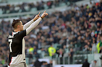 2nd February 2020; Allianz Stadium, Turin, Italy; Serie A Football, Juventus versus Fiorentina; Cristiano Ronaldo of Juventus thanks his supporters after scoring the penalty kick for 2-0 in the 80th minute