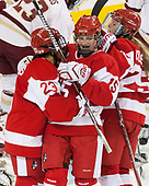 Nina Rodgers (BU - 23), Mary Parker (BU - 15) Alexis Crossley (BU - 25) - The Boston College Eagles defeated the visiting Boston University Terriers 5-3 (EN) on Friday, November 4, 2016, at Kelley Rink in Conte Forum in Chestnut Hill, Massachusetts.The Boston College Eagles defeated the visiting Boston University Terriers 5-3 (EN) on Friday, November 4, 2016, at Kelley Rink in Conte Forum in Chestnut Hill, Massachusetts.