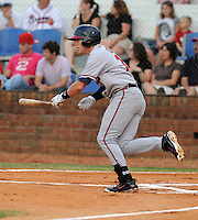 Infielder Brandon Drury (13) of the Danville Braves, Appalachian League affiliate of the Atlanta Braves, in a game against the Johnson City Cardinals on August 19, 2011, at Howard Johnson Field in Johnson City, Tennessee. Danville defeated Johnson City, 5-4, in 16 innings. Drury was named to the 2011 Appalachian League Postseason All-Star Team and Co-Player of the Year. (Tom Priddy/Four Seam Images)