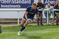 Charlie Ingall of London Scottish scores a try during the Greene King IPA Championship match between London Scottish Football Club and Ealing Trailfinders at Richmond Athletic Ground, Richmond, United Kingdom on 8 September 2018. Photo by David Horn.
