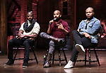Justin Dine Bryant, Antuan Magic Raimone,  Sean Green Jr. during the eduHAM Q & A with the cast of Broadway's 'Hamilton' at The Richard Rodgers Theatre on April 25, 2018 in New York City.