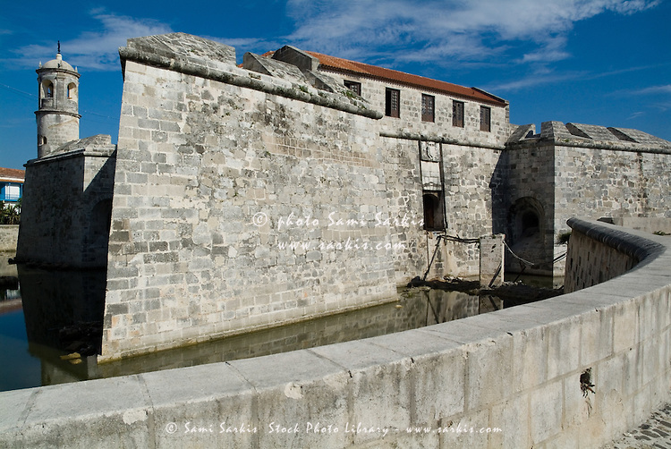 Moat and ramparts of the Castillo Real de la Real Fuerza on Plaza de Armas, Havana, Cuba.