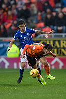 16th November 2019; Tannadice Park, Dundee, Scotland; Scottish Championship Football, Dundee United versus Queen of the South; Ian Harkes of Dundee United challenges for the ball with Connor Murray of Queen of the South  - Editorial Use