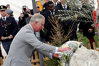 Il Principe Carlo visita il Memoriale delle vittime del terremoto<br /> Prince Charles of Wales visits the memorial for the victims of earthquake. Two of the victims were English<br /> Amatrice 02/04/2017. Il Principe Carlo del Galles in visita nella zona terremotata di Amatrice<br /> Amatrice April 2nd 2017. Prince Charles of Wales visits Amatrice, hit by the earthquake of 24 August. <br /> Foto Samantha Zucchi Insidefoto