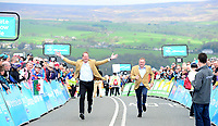 Picture by SWpix.com 04/05/2018 - Cycling Asda Women's Tour de Yorkshire - Stage 2 Barnsley to Ilkley - Christiane Prudhomme & Sir Gary Verity race up the Cote de Cow & Calf at Ilkley.
