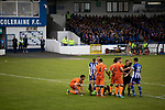 Tempers flare as the home team presses for a second-half equaliser as Coleraine (in blue) played Spartak Subotica of Serbia in a Europa League Qualifying First Round second leg at the Showgrounds, Coleraine. The hosts from Northern Ireland had drawn the away leg 1-1 the previous week, however, the visitors won the return leg 2-0 to progress to face Sparta Prague in the next round, watched by a sell-out crowd of 1700.