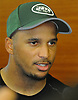 Jermaine Kearse #10 of the New York Jets speaks with the media in the locker room after a day of OTAs held at the Atlantic Health Jets Training Center in Florham Park, NJ on Tuesday, May 29, 2018.