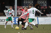 Danny Johnson of Hornchurch challenges for the ball  - AFC Hornchurch vs Bognor Regis Town - Ryman League Premier Division Football at The Stadium, Bridge Avenue, Upminster - 07/02/15 - MANDATORY CREDIT: Mark Hodsman/TGSPHOTO - Self billing applies where appropriate - contact@tgsphoto.co.uk - NO UNPAID USE