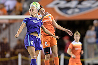 Kaylan Kyle (6) of the Orlando Pride and Morgan Brian (6) of the Houston Dash go up for a header on Friday, May 20, 2016 at BBVA Compass Stadium in Houston Texas. The Orlando Pride defeated the Houston Dash 1-0.