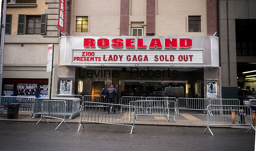 The marquee of Roseland Ballroom near Times Square in New York promotes the sold out Lady Gaga shows, seen  on Friday, March 28, 2014. The entertainer will perform a series of seven shows culminating in the closure of the nearly 100 year-old Roseland Ballroom on April 7.  (© Richard B. Levine)