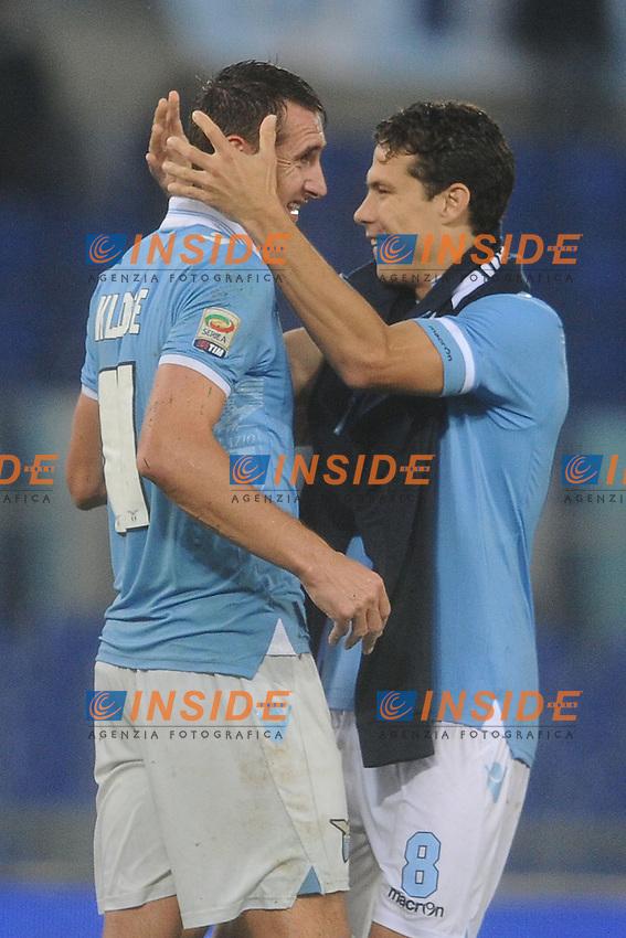 Anderson Hernanes e Miroslav Klose (Lazio) .11/11/2012 Roma, Stadio Olimpico.Campionato di Calcio Serie A 2012/2013.Derby.Lazio vs Roma.Foto Antonietta Baldassarre Insidefoto