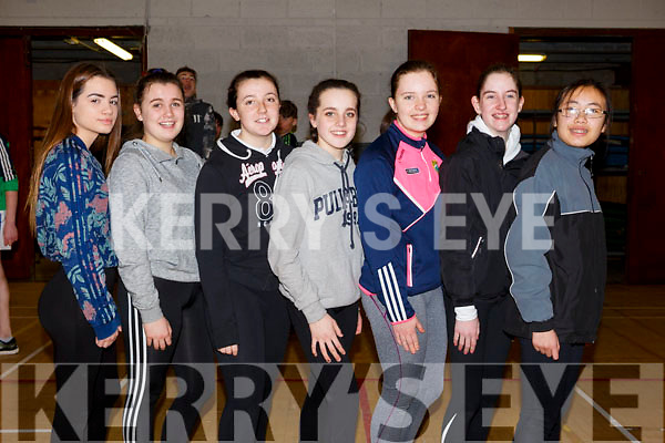 The students from Killarney Community College, Julia Mackiewitz, Leah Dickinson, Allison O'Sullivan, Caoimhe Fleming, Aoife O'Brien, Victoria Nolan and Thia Leniston attending the Spike Ball blitz at the Tralee Sports Complex on Thursday last.
