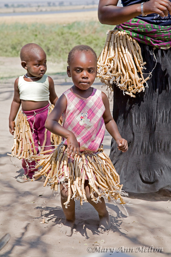 African children from a fishing village on the Chobe River, Namibia