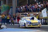 Jul. 18, 2014; Morrison, CO, USA; NHRA pro stock driver Allen Johnson during qualifying for the Mile High Nationals at Bandimere Speedway. Mandatory Credit: Mark J. Rebilas-