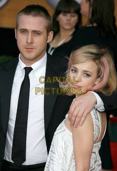 RYAN GOSLING & RACHEL McADAMS.Red Carpet Arrivals - 13th Annual Screen Actors Guild (SAG) Awards, held at the Shrine Auditorium, Los Angeles, California, USA, 28 January 2007..half length couple dyed pink hair.CAP/ADM/RE.©Russ Elliot/AdMedia/Capital Pictures.