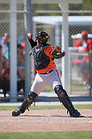 Baltimore Orioles catcher Jean Carrillo (95) during a Minor League Spring Training game against the Boston Red Sox on March 17, 2018 at the jetBlue Park Complex in Fort Myers, Florida.  (Mike Janes/Four Seam Images)