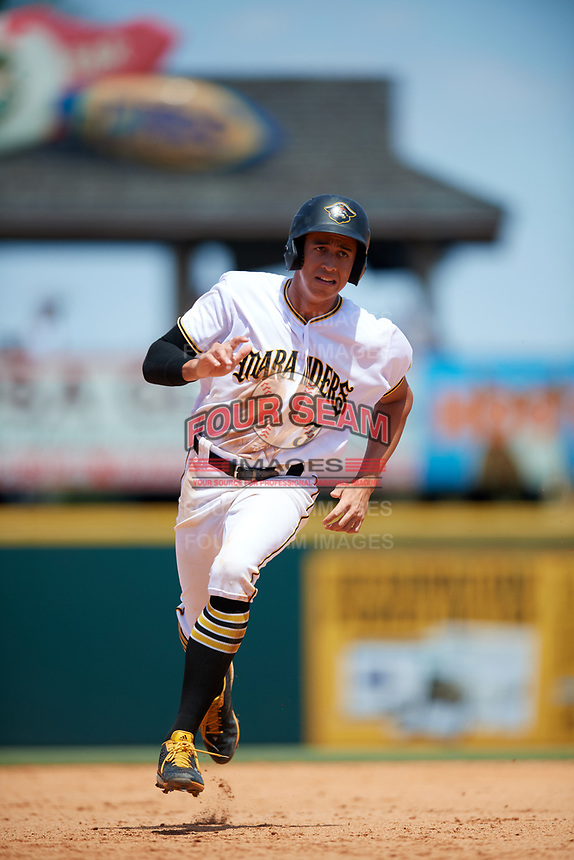 Bradenton Marauders designated hitter Cole Tucker (3) running the bases during a game against the Charlotte Stone Crabs on April 9, 2017 at LECOM Park in Bradenton, Florida.  Bradenton defeated Charlotte 5-0.  (Mike Janes/Four Seam Images)