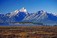 Grand Tetons with valley in foreground. Grand Teton National Park Wyoming USA.