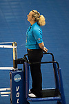 GRAND RAPIDS, MI - NOVEMBER 18: First referee Gretchen Galloway watches a play during the Division III Women's Volleyball Championship held at Van Noord Arena on November 18, 2017 in Grand Rapids, Michigan. Claremont-M-S defeated Wittenberg 3-0 to win the National Championship. (Photo by Doug Stroud/NCAA Photos via Getty Images)
