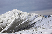 Mount Lincoln from the summit of Little Haystack Mountain in the White Mountains of New Hampshire USA during the winter months. The Appalachian Trail travels along this ridge.