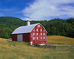 Warren County, VA<br /> Weathered red barn set among rolling hills below the forested ridge line of the Shenandoah mountains