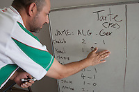 San Jose, CA - Monday, June 30, 2014:  Before the match, some in attendance picked what they felt would be the final score of the game. Most picked Algeria to win. A group of around 30 Algerians watched the Algeria vs. Germany round of 16 match at the Arab Cultural Center.