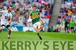 Jonathan Lyne,  Kerry in action against Jonathan Lyne,  Kildare in the All Ireland Quarter Final at Croke Park on Sunday.