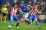 Atletico de Madrid's Juanfran Torres (l) and Gabi Fernandez (r) and Leicester City FC's Jamie Vardy during Champions League 2016/2017 Quarter-finals 1st leg match. April 12,2017. (ALTERPHOTOS/Acero)