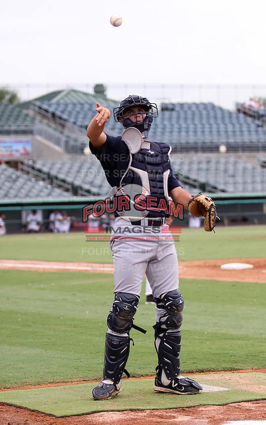GCL Yankees catcher Gregory Bird in the bullpen during game three of the GCL Championship Series against the GCL Marlins at Roger Dean Stadium on August 31, 2011 in Jupiter, Florida.  GCL Yankees defeated the GCL Marlins 3-1 to capture the league championship.  (Stacy Grant/Four Seam Images)
