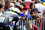 Fans watch Scott Thwaites (GBR) Dimension Data during Stage 20 of the 104th edition of the Tour de France 2017, an individual time trial running 22.5km from Marseille to Marseille, France. 22nd July 2017.<br /> Picture: ASO/Alex Broadway | Cyclefile<br /> <br /> <br /> All photos usage must carry mandatory copyright credit (&copy; Cyclefile | ASO/Alex Broadway)