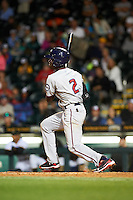 Fort Myers Miracle shortstop Nick Gordon (2) at bat during a game against the Bradenton Marauders on April 9, 2016 at McKechnie Field in Bradenton, Florida.  Fort Myers defeated Bradenton 5-1.  (Mike Janes/Four Seam Images)