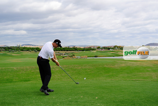Michael Hoey (NIR) tees off the 14th tee during Sunday's Final Round of the Portugal Masters at the Oceanico Victoria Golf Course, Vilamoura, Portugal 14th October 2012 (Photo Eoin Clarke/www.golffile.ie)