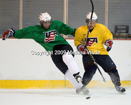 Kyle Palmieri (US - 20), Aaron Ness (US - 3) - Team USA practiced on Thursday, August 13, 2009, in the USA (NHL-sized) Rink in Lake Placid, New York, during the 2009 USA Hockey National Junior Evaluation Camp.