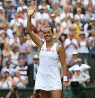 Barbora Strycova (CZE) celebrates after winning her match against Johanna Konta (GBR) in their Ladies' Singles Quarter-Finals match<br /> <br /> Photographer Rob Newell/CameraSport<br /> <br /> Wimbledon Lawn Tennis Championships - Day 8 - Tuesday 9th July 2019 -  All England Lawn Tennis and Croquet Club - Wimbledon - London - England<br /> <br /> World Copyright © 2019 CameraSport. All rights reserved. 43 Linden Ave. Countesthorpe. Leicester. England. LE8 5PG - Tel: +44 (0) 116 277 4147 - admin@camerasport.com - www.camerasport.com