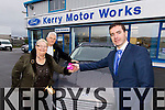 Winners of the Kerry motor works draw for a €500 shopping voucher were loyal customers Eileen and Mike Courtney from Aghadoe, Killarney pictured here being presented with their prize by Kieran Griffin Kerry motor works.