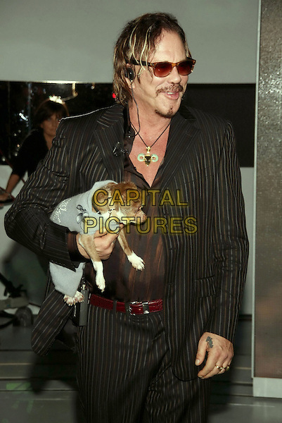 "MICKEY ROURKE and his dog Loki.""Che Tempo Che Fa"" Italian TV Show, .Milan, Italy, 03 November 2008..taping appearance half length pet animal sunglasses brown suit jacket pinstripe .©Antonio Sorano/Liverani/Admedia/Capital PIctures"